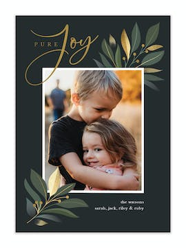 Pure Joy Foil Pressed Holiday Photo Card