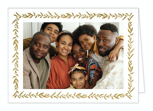 Garland Shimmer Foil Pressed Folded Holiday Photo Card