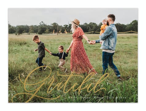 Simply Grateful Foil Pressed Holiday Photo Card