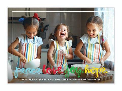 Peace.Love.Joy.Hope. Holiday Photo Card