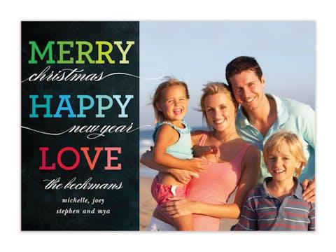Rainbow Merry Happy Love Holiday Photo Card