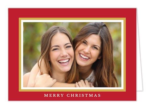 Traditional Border Folded Holiday Photo Card