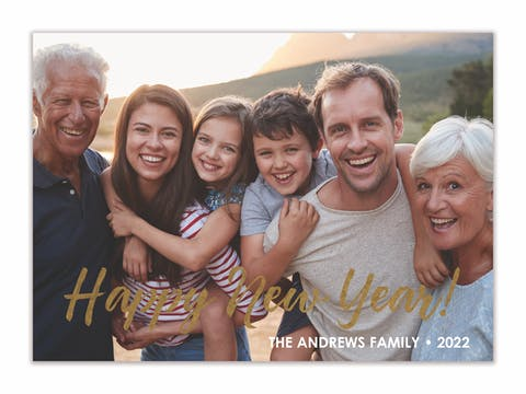 Foil Happy New Year! Flat Holiday Photo Card