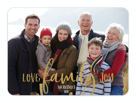 Foiled Love Family Joy Foil Pressed Holiday Photo Card