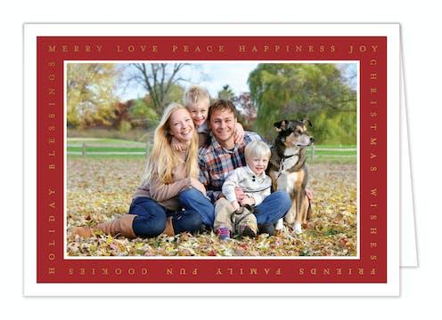 Holiday Favorites Frame Foil Pressed Folded Holiday Photo Card