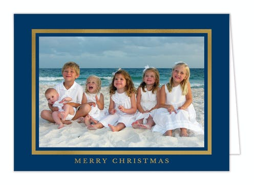 Beaming Border Foil Pressed Folded Holiday Card-Print & Apply