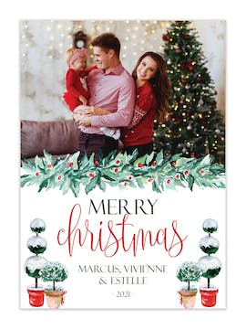 Snowy Topiaries Holiday Photo Card