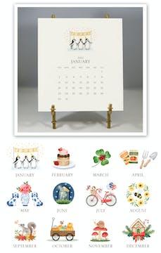 Hand-sparkled 2022 Desk Calendar & Easel