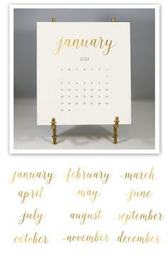 Solid Cream 2022 Foil Pressed Desk Calendar & Easel