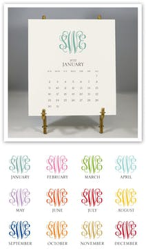 Monogrammed 2022 Desk Calendar & Easel