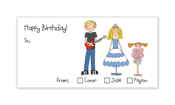 Personalized Character Horizontal Check Box Labels