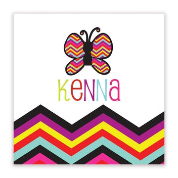 Butterfly and Chevron Striped Gift Sticker