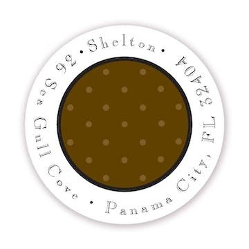 Tiny Dots Chocolate On Chocolate Round Address Sticker