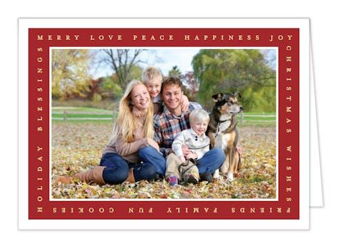 Holiday Favorites Frame Foil Pressed Folded Holiday Card-Print & Apply