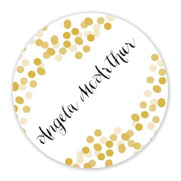Gold Confetti Round Gift Sticker