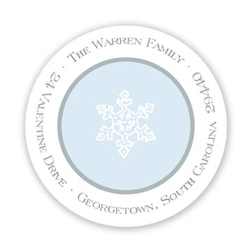 Simple Silver & Blue Round Address Sticker
