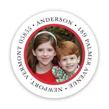 The Family Photo Round Address Label
