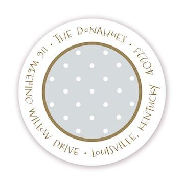 Tiny Dots White On Silver & Gold Round Address Sticker