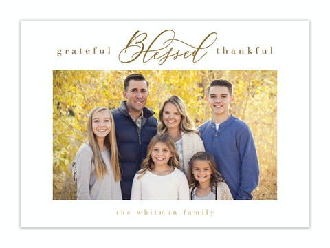 Gratefully Blessed Foil Pressed Holiday Photo Card