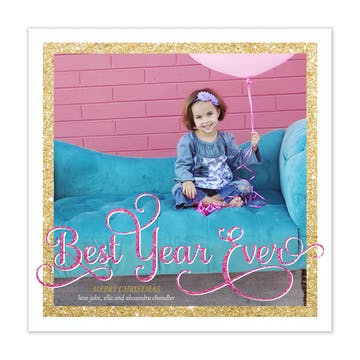 Best Year Ever Holiday Square Flat Photo Card