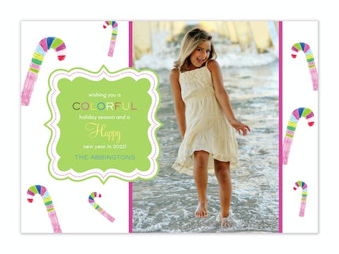 Colorful Candy Cane Holiday Flat Photo Card