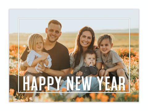 Framed Happy New Year Holiday Photo Card