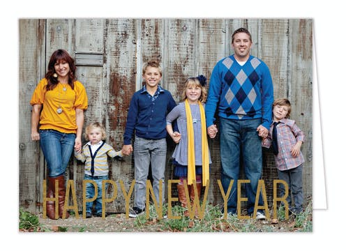 New Year Bliss Foil Pressed Holiday Photo Card
