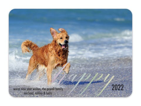 Foil Happy Flat Holiday Photo Card
