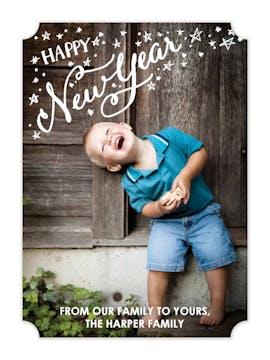 New Year Stars Holiday Flat Photo Card