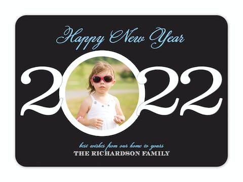 New Year Circle Holiday Flat Photo Card