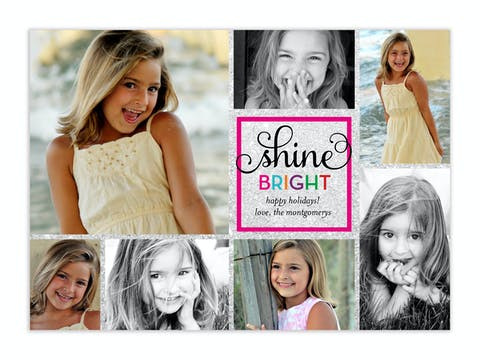 Shine Bright Holiday  Flat Photo Card