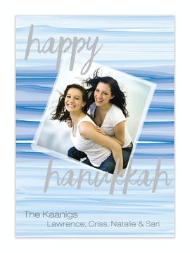 Blue Watercolor Wash Hanukkah Flat Photo Card