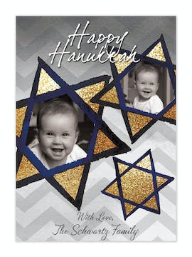 Gold Hanukkah Stained Glass Stars Flat Photo Card
