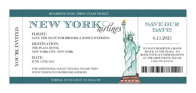 New York City Ticket Invitation