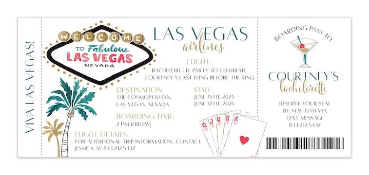 Las Vegas Ticket Invitation