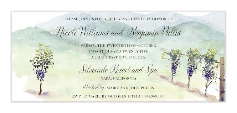 Wine Country Vineyard Ticket Invitation