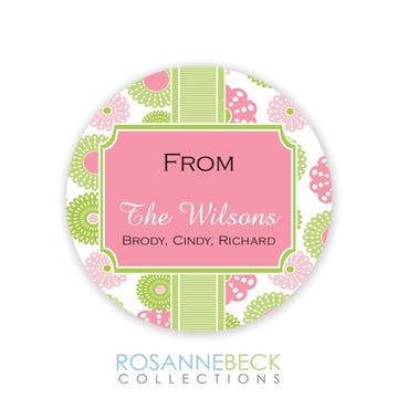 Retro Flowers Round Gift Sticker - Pink
