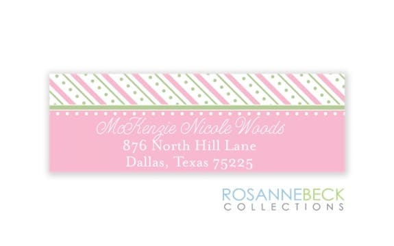 Oxford Pink & Green Stripes Return Address Label