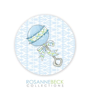 Rattle Me Baby Round Envelope Seal - Blue