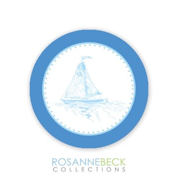 Oxford Blue Stripe Round Envelope Seal - Boat