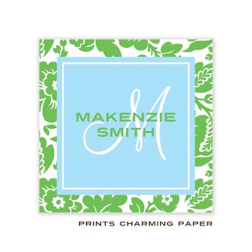 Baby Blue and Green Floral Enclosure Card
