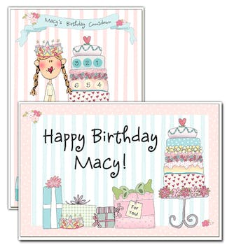 Cake Birthday Countdown Calendar and Placemat