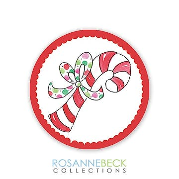 Candy Cane Round Envelope Seal