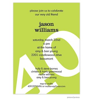Big Birthday Invitation - White on Chartreuse