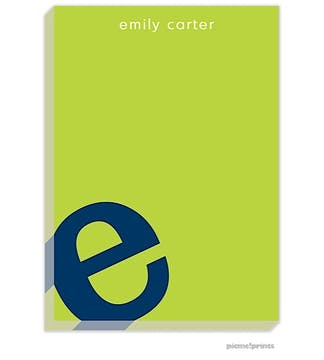 Alphabet Navy on Chartreuse Large Notepad