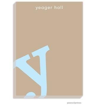 Alphabet Powder on Tan Large Notepad