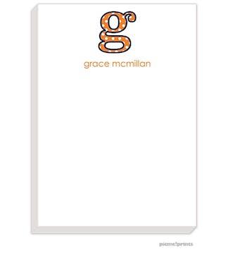Big Letter Big Dots Tangerine Large Notepad