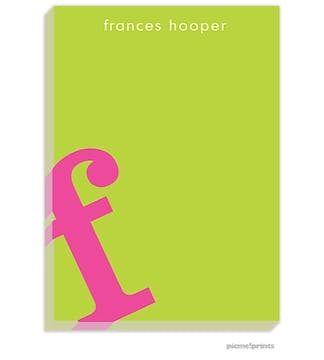 Alphabet Hot Pink on Chartreuse Large Notepad