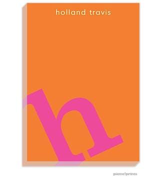 Alphabet Hot Pink on Tangerine Large Notepad