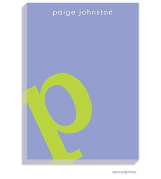 Alphabet Chartreuse on Periwinkle Large Notepad